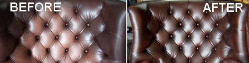 brown sofa before and after